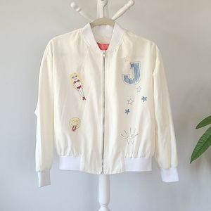 EMBROIDERED Ivory Light-weight Bomber Jacket